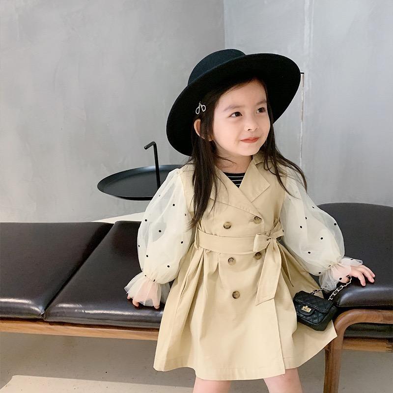 Recenti INS autunno Toddelr Bambino Bambina Tench Buttons Coat anteriori Patchowork garza del manicotto di soffio abbigliamento per bambini Outwears Coat