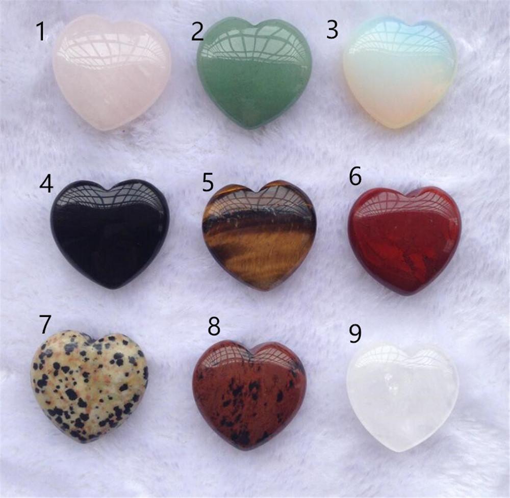 Reiki Mineraller Kalp Shape Kristal Doğal Kuvars Chakra Healing Taş Taş kolye DIY Hediye Ev Dekorasyonu El Yapımı Takı