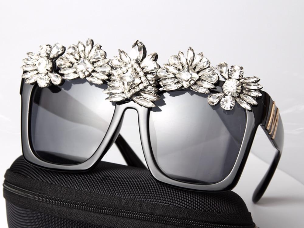 Hechos a Crystal gafas de sol de las mujeres de Bling del Rhinestone de gran tamaño cuadrados gafas de sol de los vidrios de la vendimia sombras Accesorios Damas