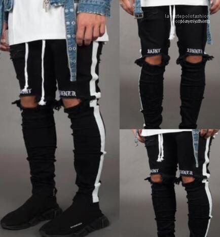 Kaykay Kalem Pantolon Yeni Erkek Jean Pantalones Sokak Kara Delikler Tasarımcı White Stripes Jeans Hiphop