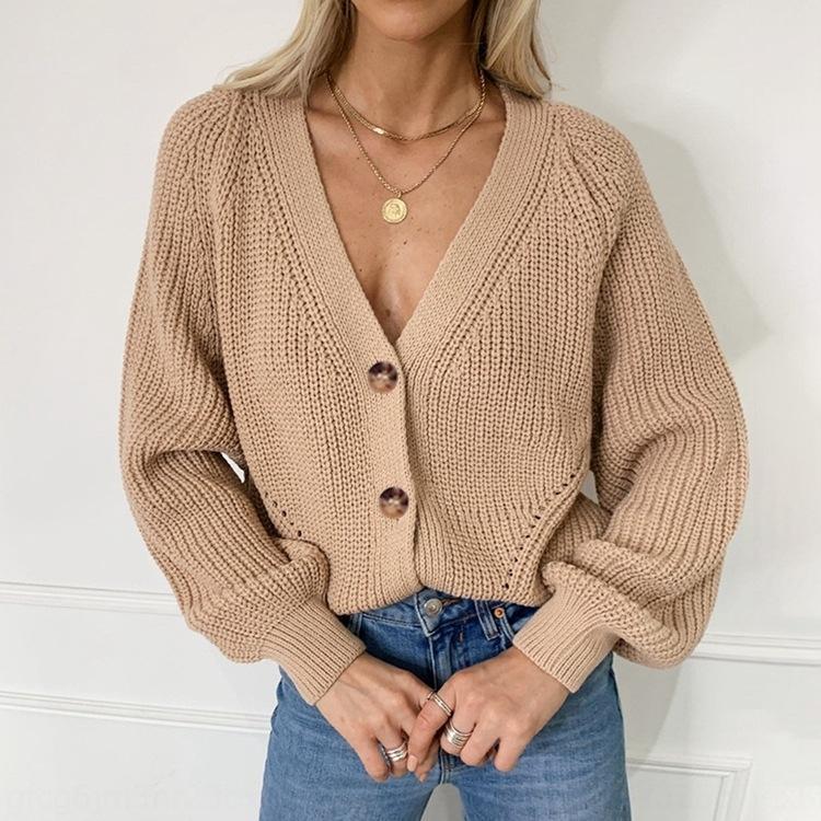 uJgQ6 2020 женщин V-образным вырезом вязаный кардиган осень и зима Новый 2020 женщин пальто свитер свитер V-образным вырезом вязаный кардиган осенью и зимой