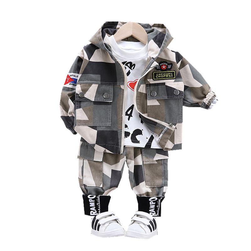 Baby Boy Out Roupas Primavera Outono Crianças Carta T Camisetas Calças Com Capuz 3 Pçs / Sets Infantil Outfit Kids Moda Fashion ToDdler Tracksuits LJ200831