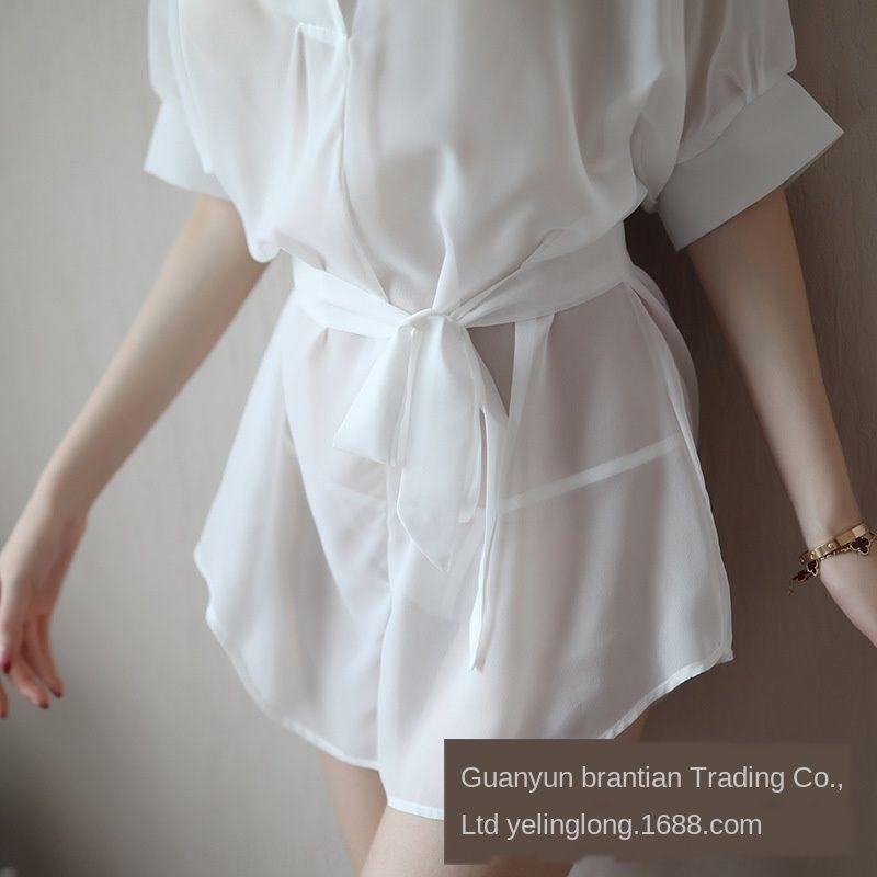 oxxvX cueca Linglong New Underwear Pijama chiffon solta pijamas de verão sexy estilo longa camisa branca sexy Noite coreano das mulheres