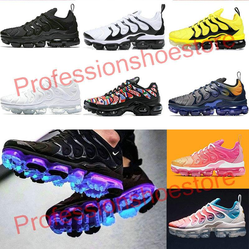 2020 TN Plus Mens Womens running shoes Active Fuchsia Black White USA Game Royal Wolf Grey Trainers Sports Shoes Sneakers Shoes 36-47