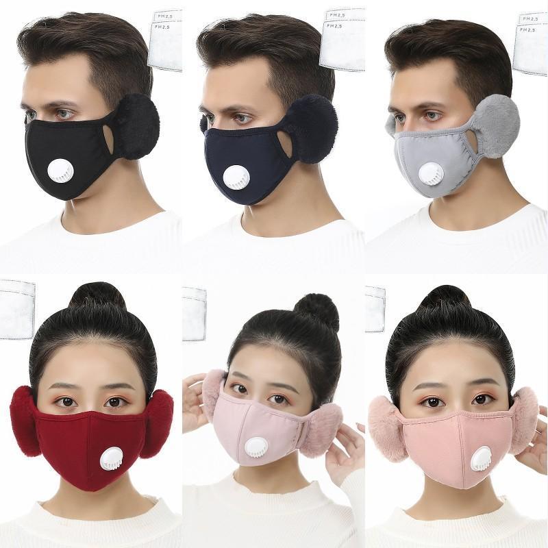 2 en 1 Masque couverture avec peluche oreille Masque de protection PM2,5 chaud épais Masques bouche d'hiver Bouche moufles Earflap 6 Styles X647FZ