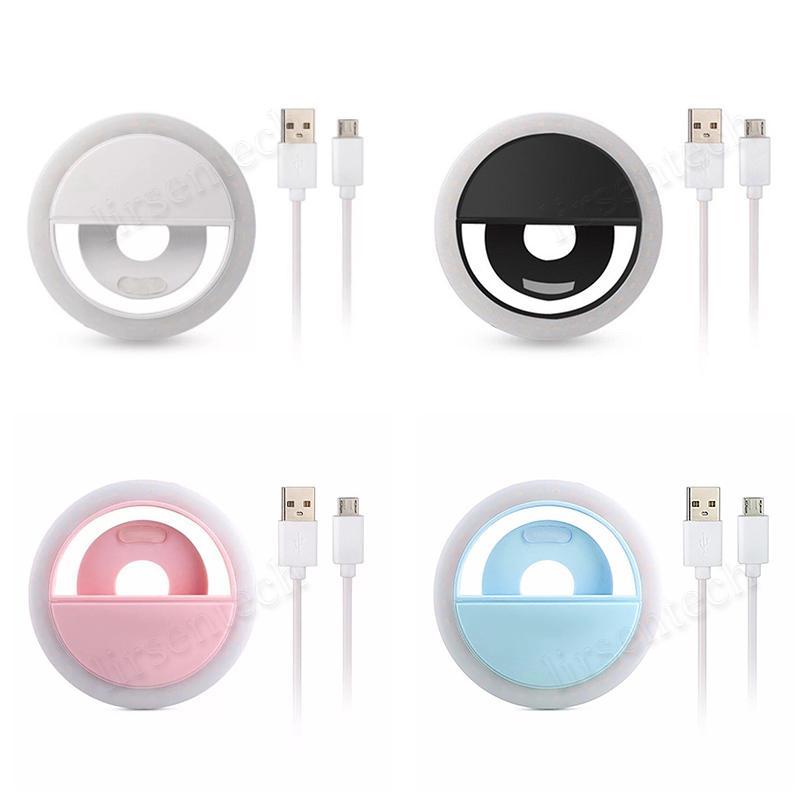 التعبئة قابلة للشحن LED الذاتي الدائري ضوء فلاش الجمال البسيطة الخفيفة ليلة كليب للهواتف الذكية الهاتف الجوال عدسة