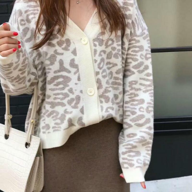 Cappotto da donna Autunno Inverno Leopard maglione del cardigan femminile manica lunga più di formato esterno lavorato a maglia cime tirare Maglia Femme Sueter T200820