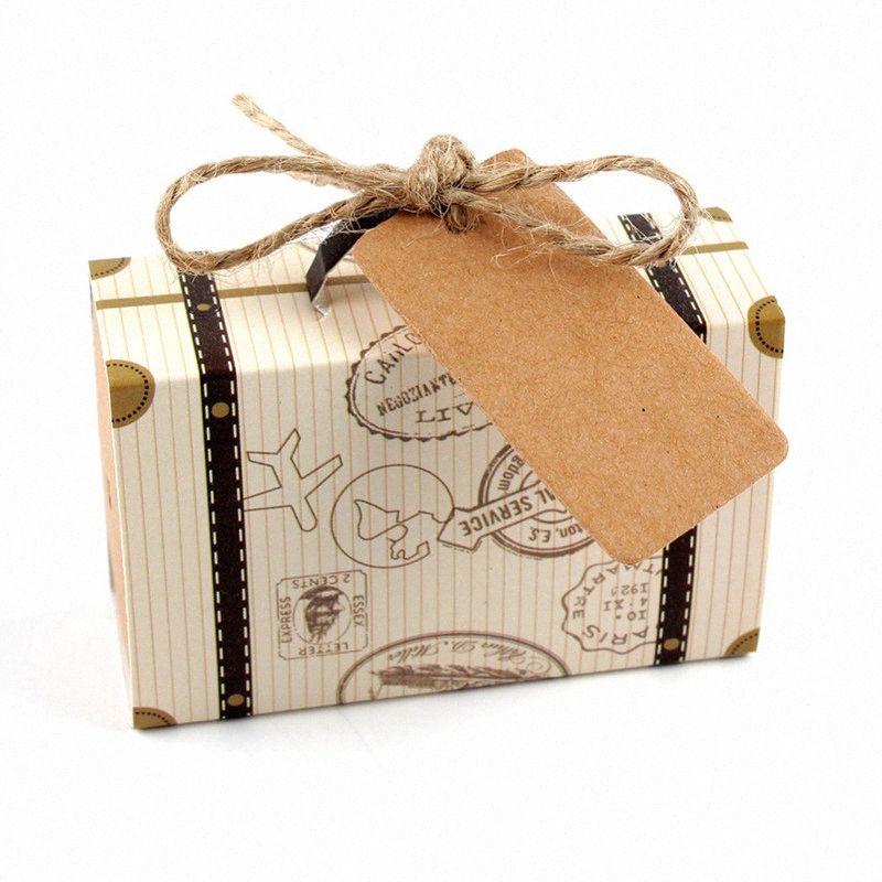 50pcs Mini mala de viagem temático do partido Kraft Candy Caixa Bonbonniere casamento caixas de presente para o chuveiro aniversário bebê aniversário Box. vzYx #