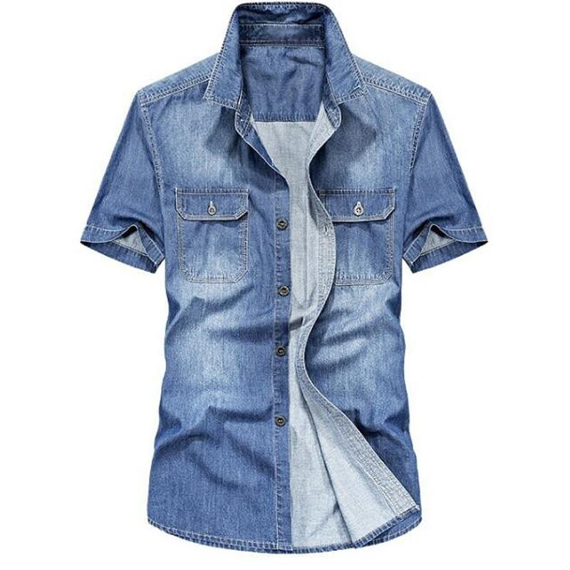 Men Shirts Fashion Summer Short Sleeves Men Denim Shirts Cotton Casual Turn Down Collar Camisa Male Denim