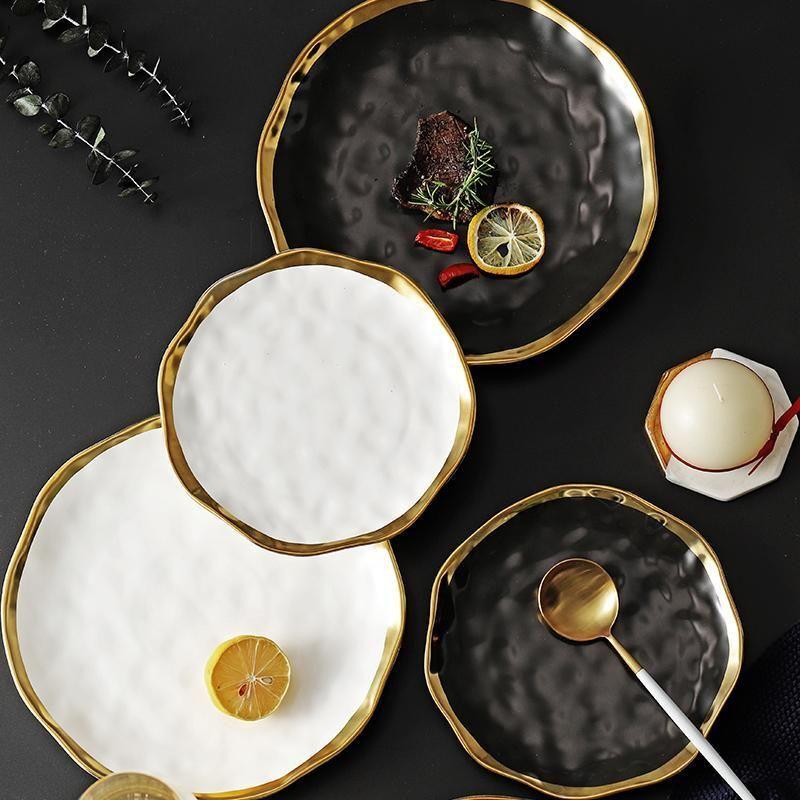 New Jantar placa cerâmica ouro embutimento Snack Pratos Luxo Ouro bordas da placa Louça Cozinha Placa Preta Branca Bandeja Conjunto Mesa