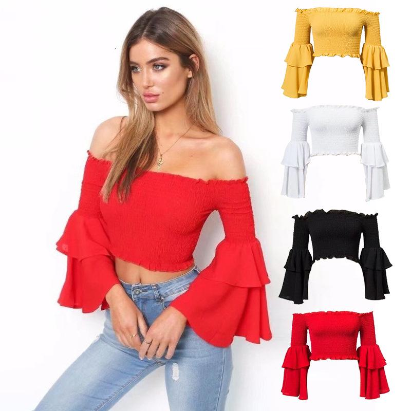 Casual flared sleeve short one-word shoulder top womens clothing fall fashion loose T-shirt spring and summer all-match ladies party dresses