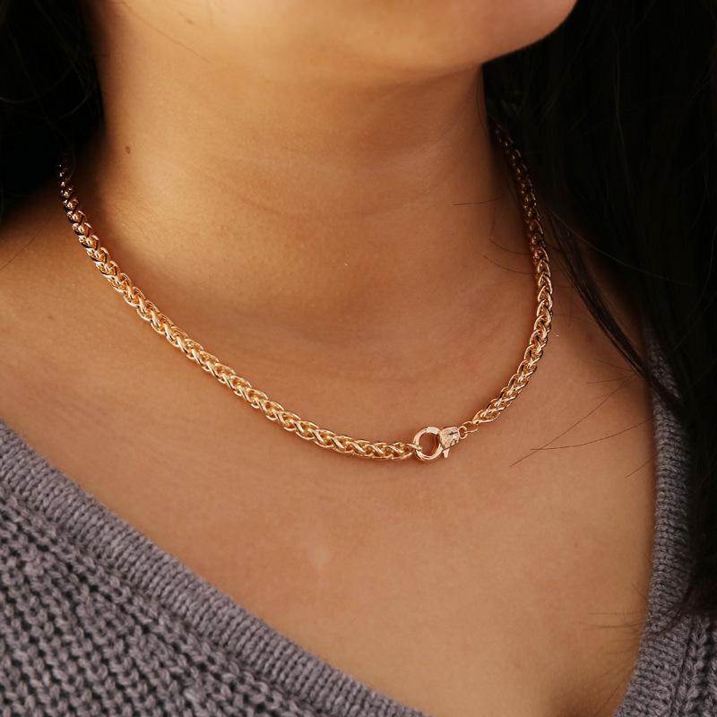Collar Tassing personalidad de la joyería geométrica gruesa cadena simple collar accesorios de época.