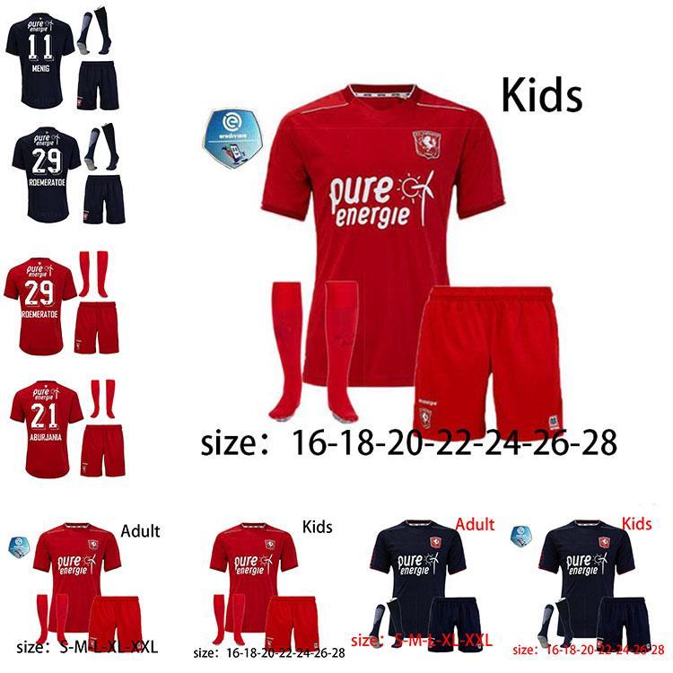 Adult kids kit 2020 2021 FC Twente Soccer Jersey Home 21 Giorgi Aburjania 29 Godfried Roemeratoe 18 Lindon Selahi 11 Queensy Menig Football