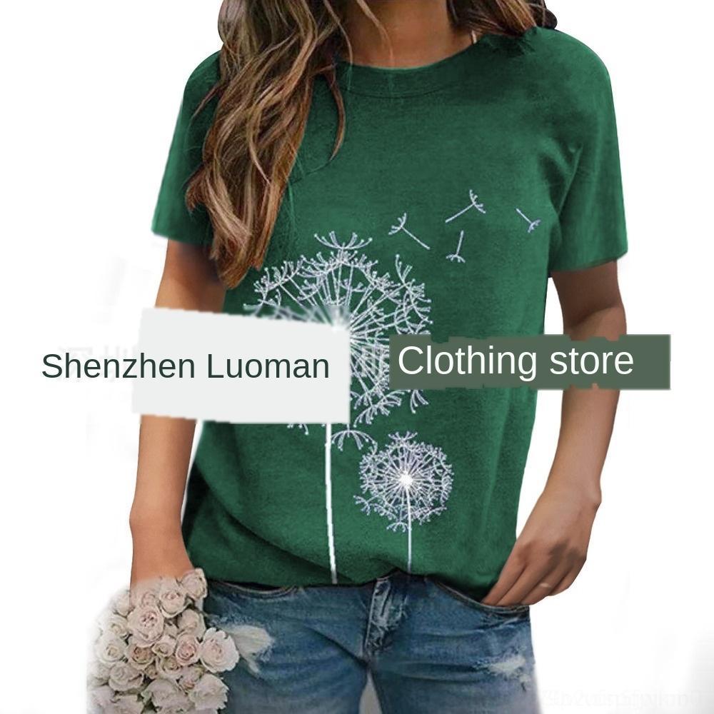 cbSa8 3XsGa 2020 Escudo camiseta del verano de la manga nueva diente de león impreso alrededor del cuello de la camiseta ocasional flojo superior para las mujeres Top corto