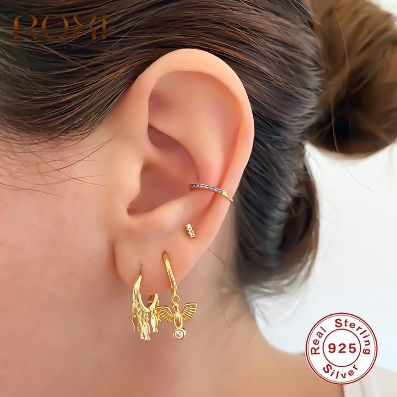 Kadınlar Kız Çocuk Pendientes 925 Gümüş Takı Parti Küpe toptan Sevimli Parlak Küçük Balık kolye Hoop Küpeler
