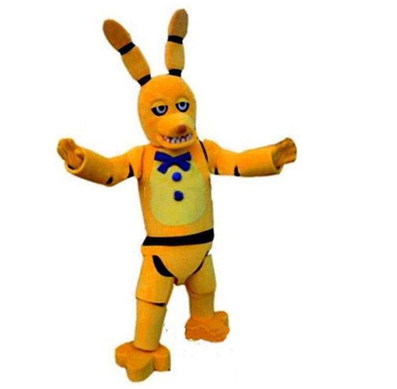 2019 Professional fait Naoshima FNAF Toy Creepy lapin mascotte jaune Cartoon Vêtements Noël Freddy