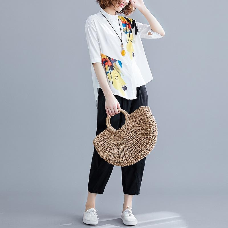 YQGA4 blanco Nuevo impreso irregulares blancas camisa casual 2019 de la camisa grande ancho pantalones anchos de la pierna pantalones de dos piezas de las mujeres de talla de las piernas