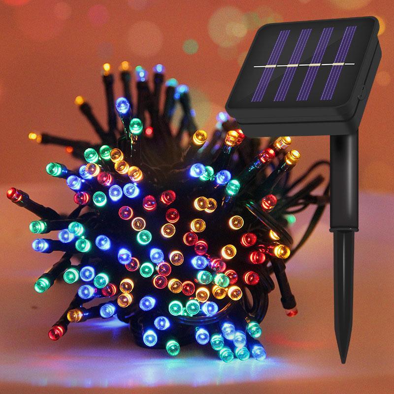 22M 200LED الشمسية بقيادة ضوء سلسلة 12M 100LED الملونة لون واحد ضوء الديكور لعيد الميلاد حديقة عطلة ضوء في الهواء الطلق الجنية
