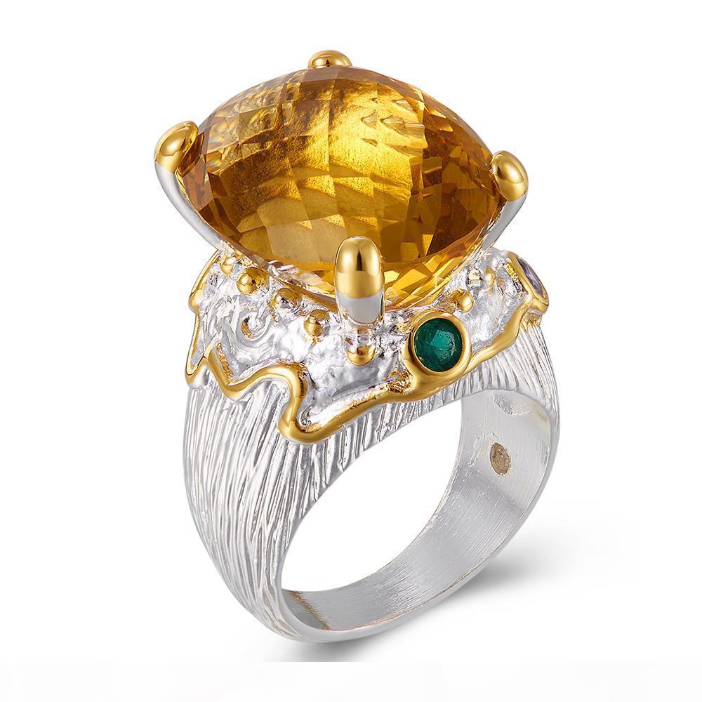 20 * 15mm großer goldener Zirkonia Schmuck Ring Luxus Silber Frauen großes Schmuck Cocktail zieht Ringe Partei