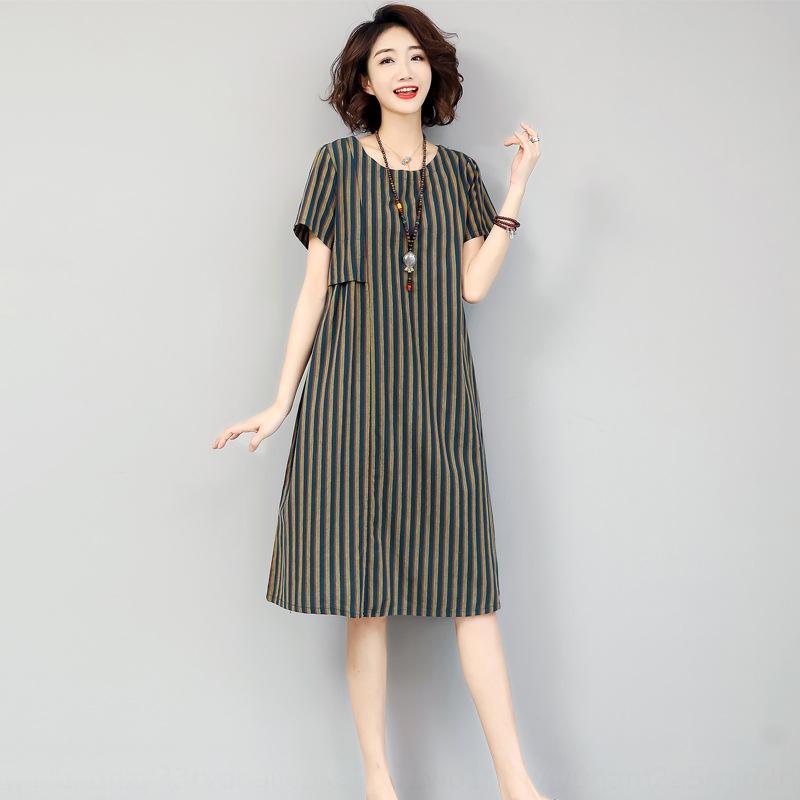 W885b Frauen 2020 Sommer-neues Kleid Schwester MM Rock lang koreanischen langen Rock Stil lose um den Hals gestreift mittellange Fett F6805