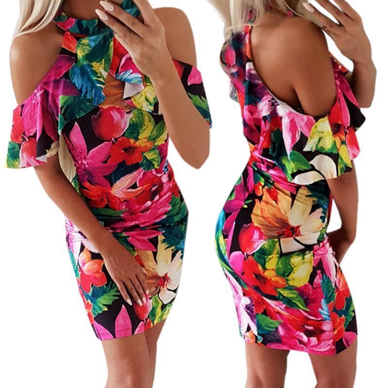2020 estate Robe Halter sexy spalle pacchetto Fianchi Stampa donna pro mini abiti del partito aderente floreale Ruffles Dress Abiti