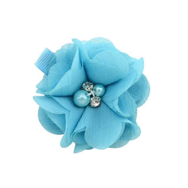Las pinzas de pelo del bebé con los sólidos clips de la flor de la gasa de pelo cosido a mano granos de la flor al bebé recién nacido muchos colores ofrecen desde