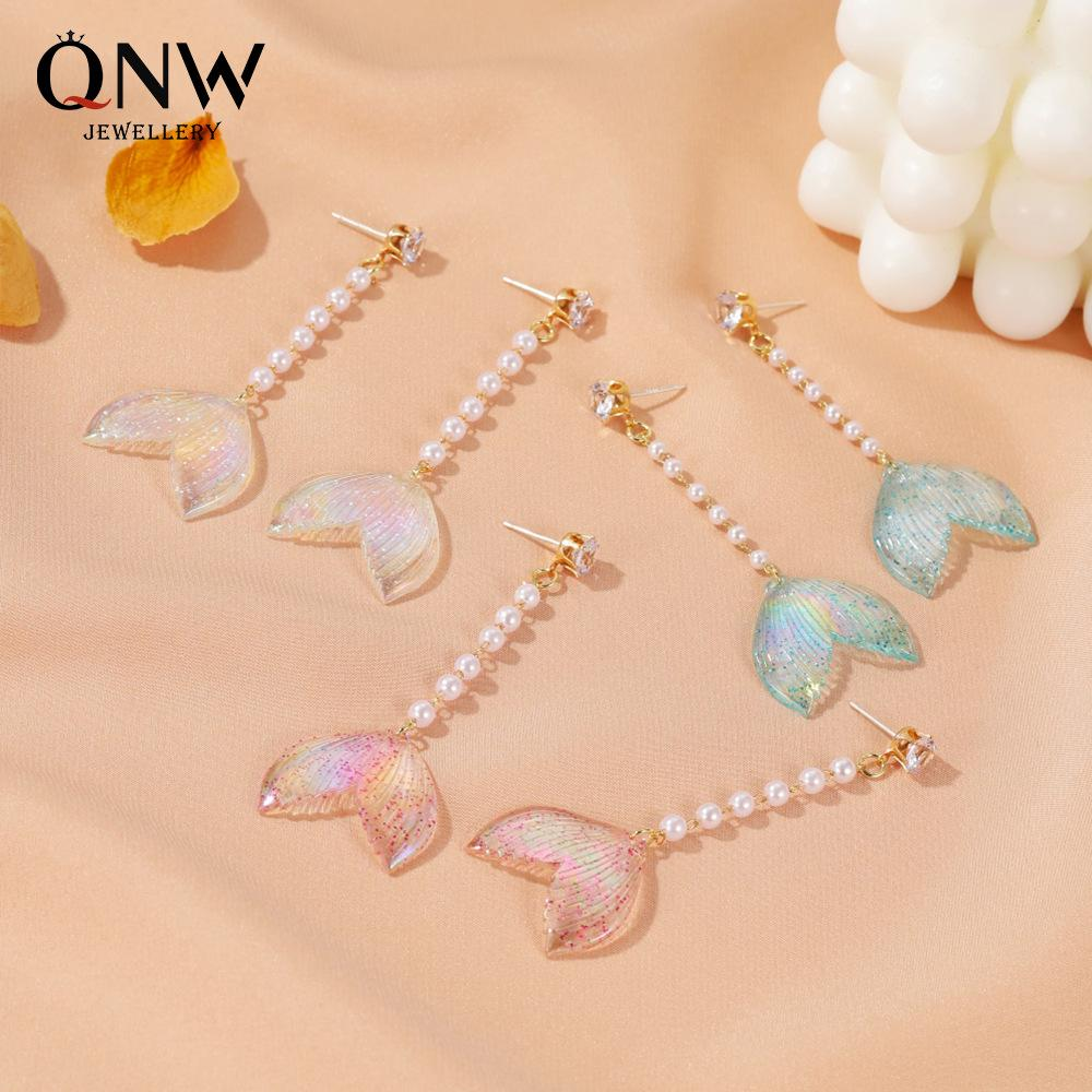 Trendige Perlen Mermaid Schwanz Ohrringe für Mädchen Rhinestone-Troddel-Gold überzogen baumeln Ohrringe Geschenk Schmuck Accessoires
