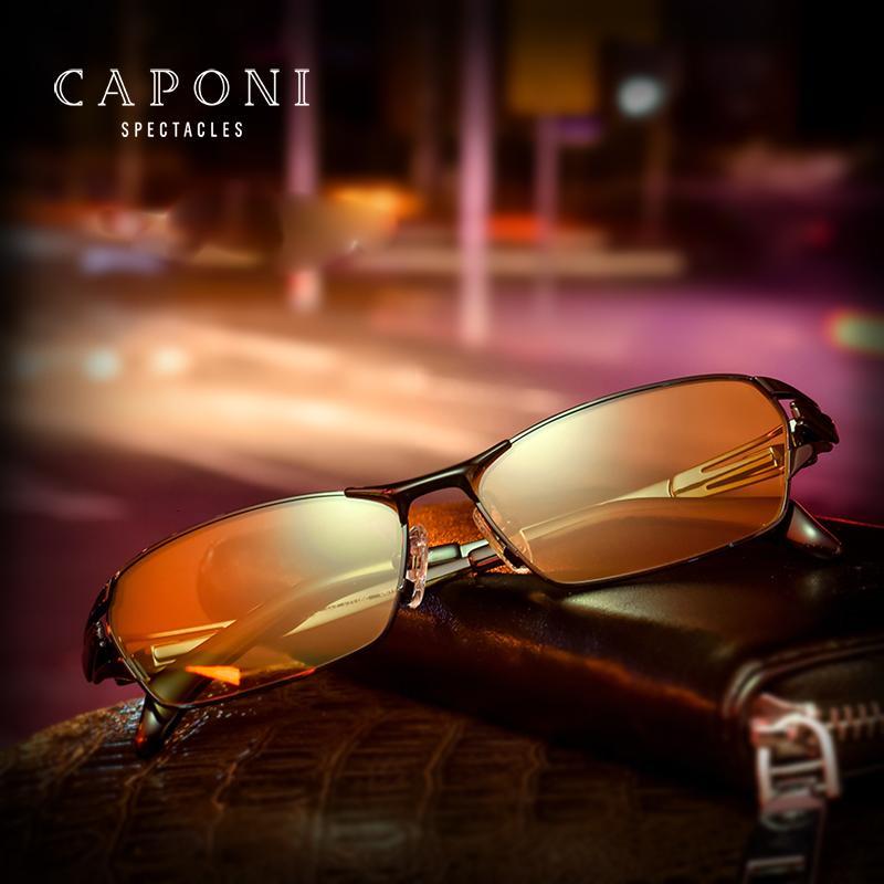 Caponi gafas de sol amarillas para las lentes de los hombres del capítulo titanio puro polarizada Día Noche conducción de automóviles de decoloración Gafas de sol BSYS1190