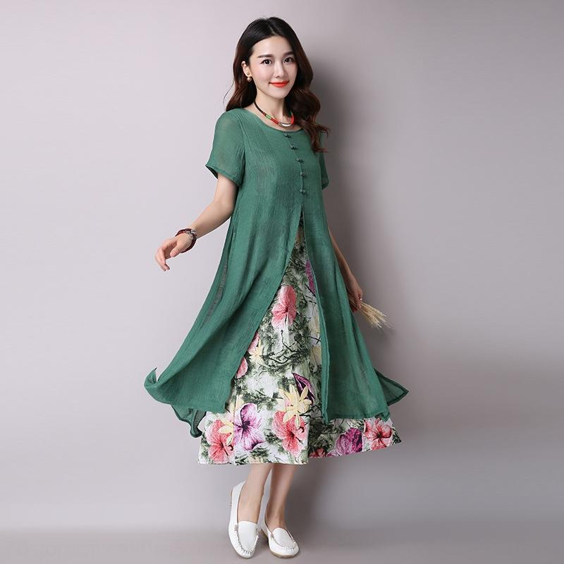 2019 summer fat MM slimming large size ethnic style women's cotton and linen National dress printed fake two-piece mid-length women's dress