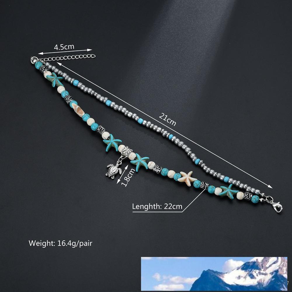 Argento Tortoise Pendant Beads Cavigliera Starfish per le donne colore antico di epoca a piedi nudi del sandalo Dichiarazione del braccialetto Chain del piede gioielli Boho