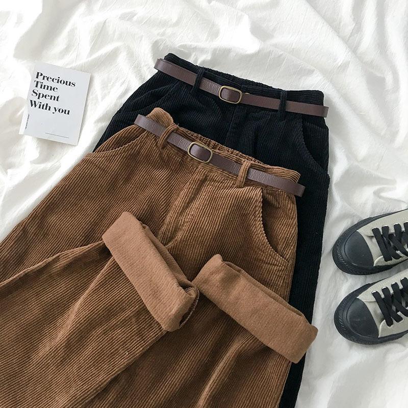 Высокая талия Вельвет Широких ноги брюки женщина Vintage Brown Black Straight брюки с поясом Женщиной Повседневная Harajuku Днище CX200817