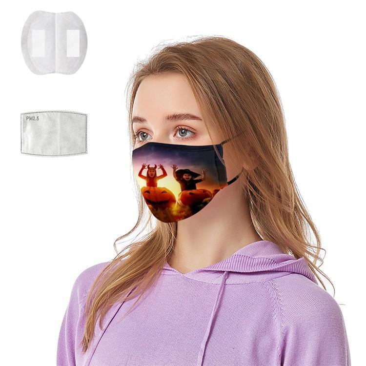 Máscaras Halloween Party 23 projetos 3D Impresso Horror fantasmas Padrões de abóbora Adulto Cara Cotton Máscara lavável reutilizável FY9183