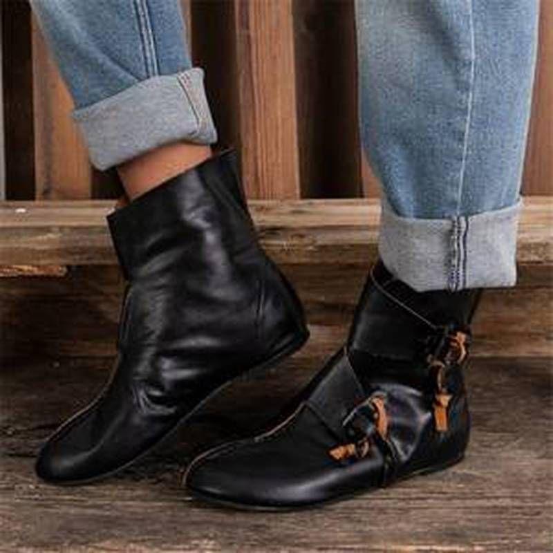 femmes bottes cheville bottillons en cuir vintage chaussure PU plus hauteur de la taille incleasing chaussures coins femme Zapatos mujer Sapato