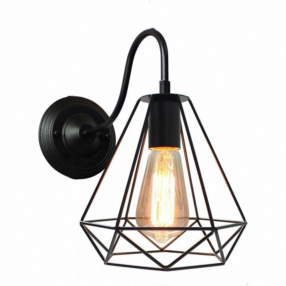 lámpara de pared lámpara de noche retro sencilla personalidad creativa hotel de viento industrial moderna sala de estar dormitorio llevó pared Z155 #