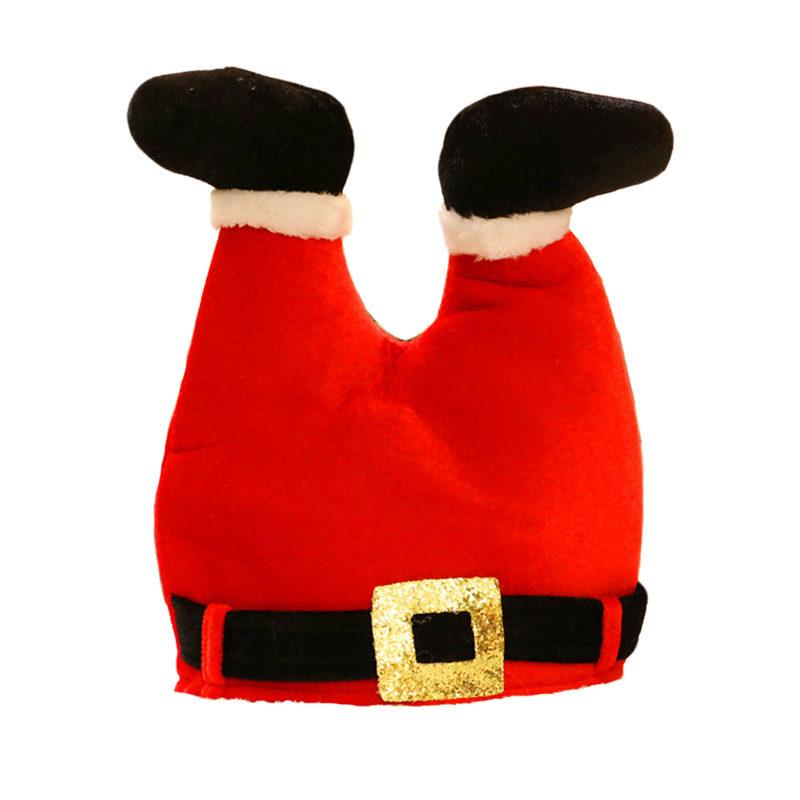 Christmas Funny Novelty Red Pants Decoration Xmas Hat for Adults Christmas Hat Santa Claus Legs Cap Party U3