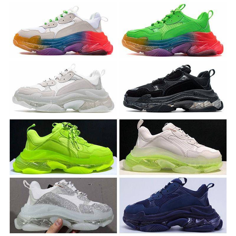 Paris 17FW Triple S Walking Shoe Chaussures Tripler Sneakers per Uomo Donna Vintage Dad Old Shoes Casual Sole Bianco Verde Nero Trainer