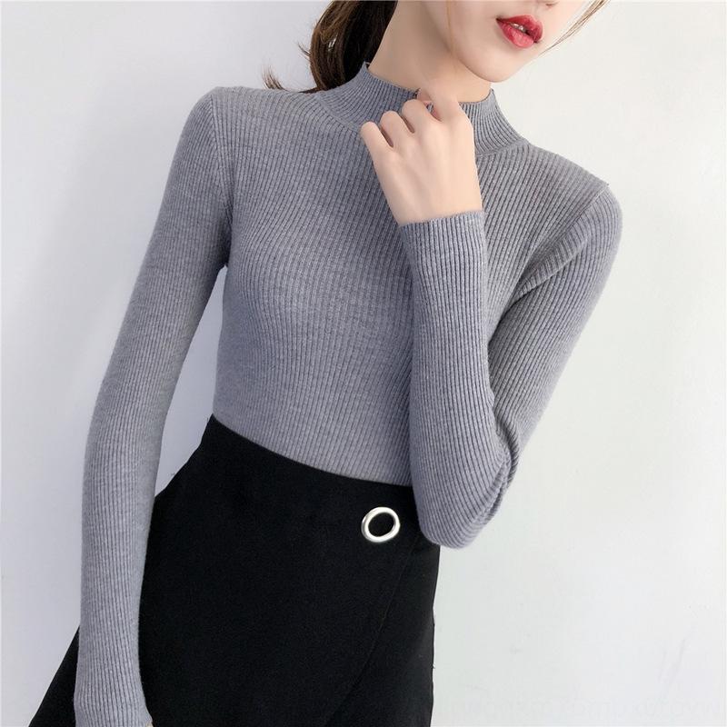 1Lu40 Outono e Inverno curto novo semi-colarinho alto 2.019 mulheres interna zKD6A apertado pulôver camisola de manga longa pullover base de close-fi