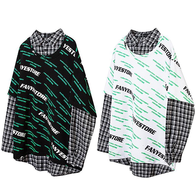 Camisas de la camiseta fresca de la tela escocesa de impresión Carta Pullover hombres Hip Hop moda de la calle de los hombres Streetwear Pareja