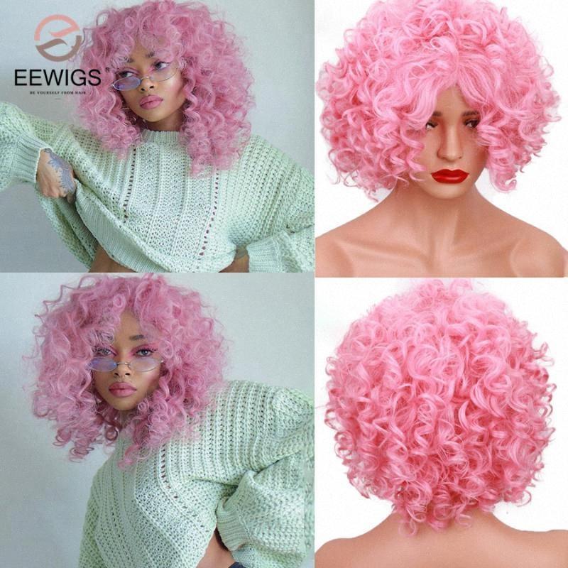EEWIGS 12 Glueless Rosa Bob Perücke Hitzebeständige Drag Queen synthetische Perücke Günstige Kurz Pixie Curly Perücken für weiße schwarze Frauen u0XM #