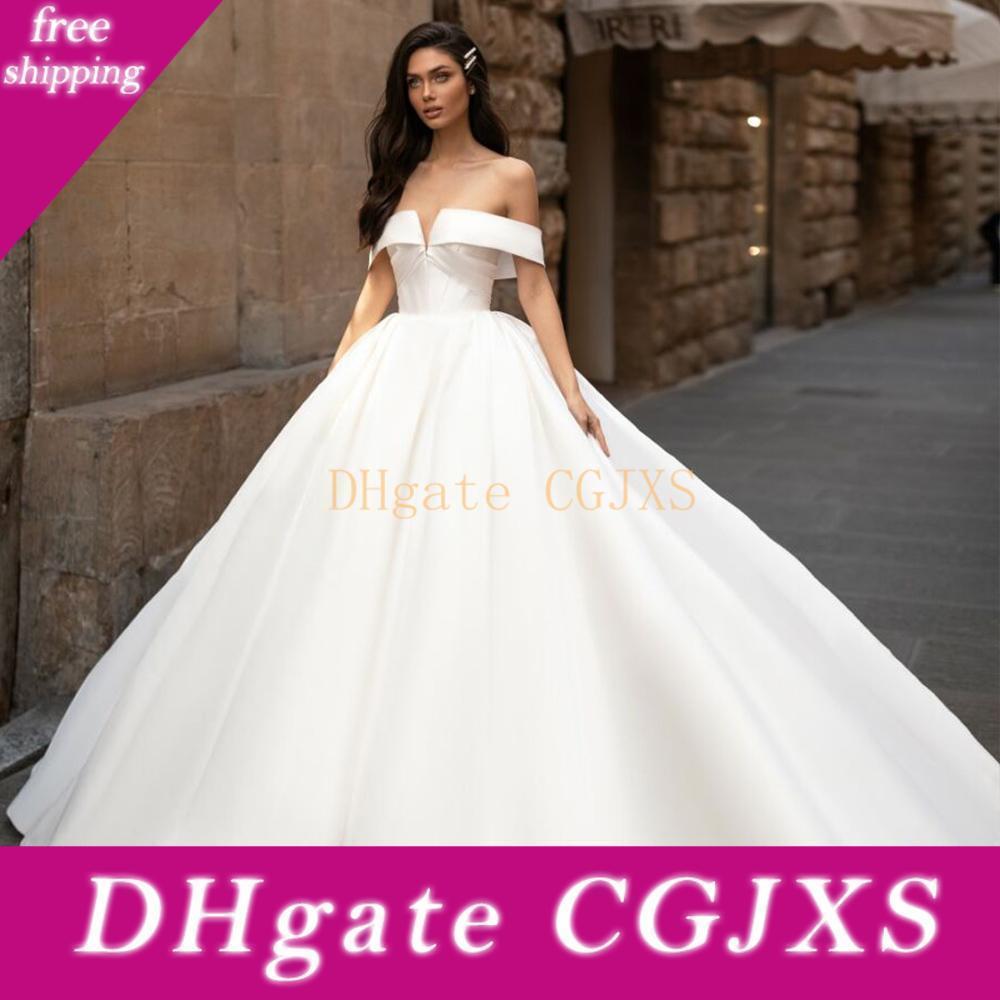 Milla Nova 2,020 simples do casamento de cetim vestidos árabe fora do ombro do vestido de casamento vestidos de noiva Plus Size Robe De Mariee