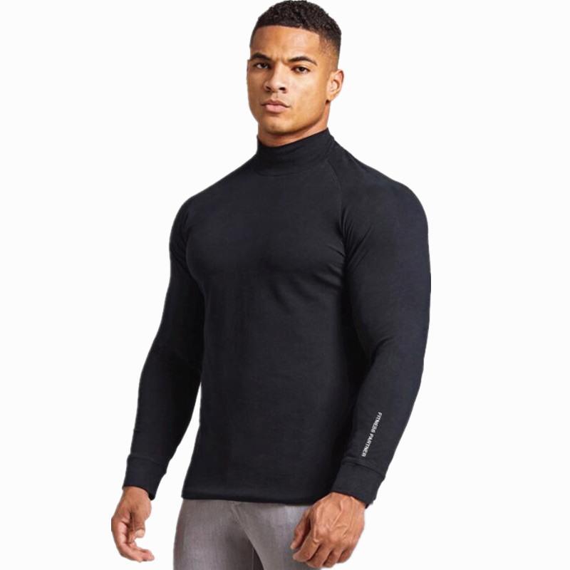 Nuovo maniche lunghe T-shirt da Uomo Slim Fit palestre fitness Bodybuilding Pantaloni allenamento Abbigliamento tee maschio moda casual di marca top