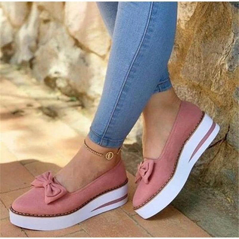 Moda Düz Ayakkabı Dikiş Platformu Kadın Yürüyüş Kadın ayakkabı LJ200820 On Kadın Ayakkabı Papyon loafer'lar Casual 2020 Sonbahar Bayanlar Kayma