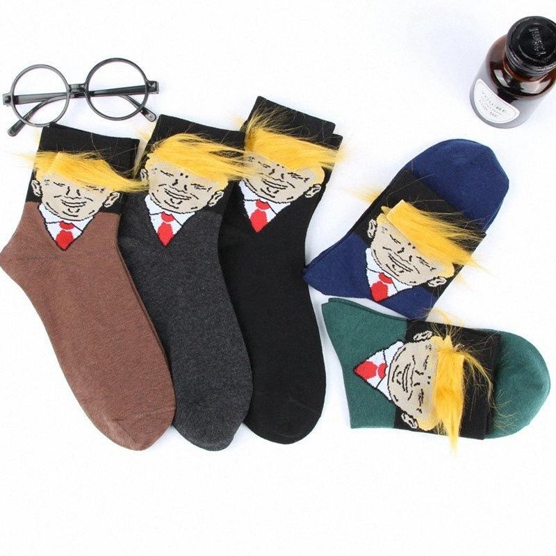 Donald Trump calza di cotone oro dei capelli divertente Trump 2020 Designer Sock casuale misto Uomo Donna Bambini calzini HHA548 5yzN #