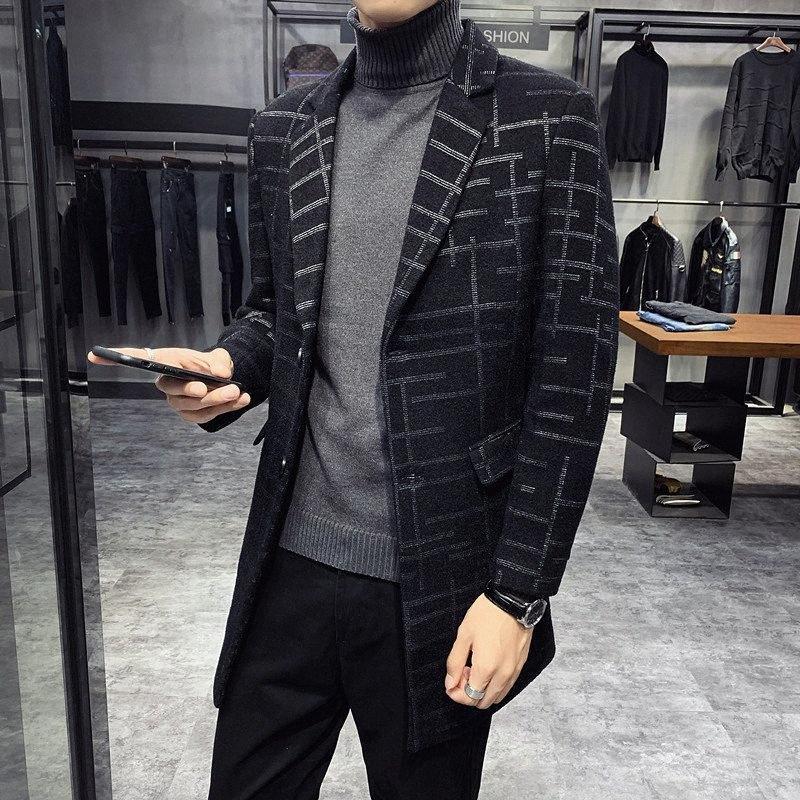 Erkek Montlari Düz Adam 2020 Sonbahar Yünlü Erkek Uzun Çizgili Yün Palto Slim Fit Coat WINDBREAKER Mantel Wolle 3Si4 #