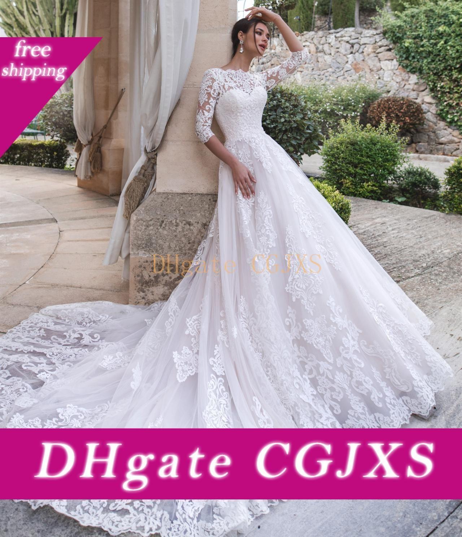 Vestido de novia elegante Nueva Largo 2020 Bateau cuello de manga larga de tren capilla de encaje de tul Una lÍnea novia Vestidos Vestido de Noiva Longo