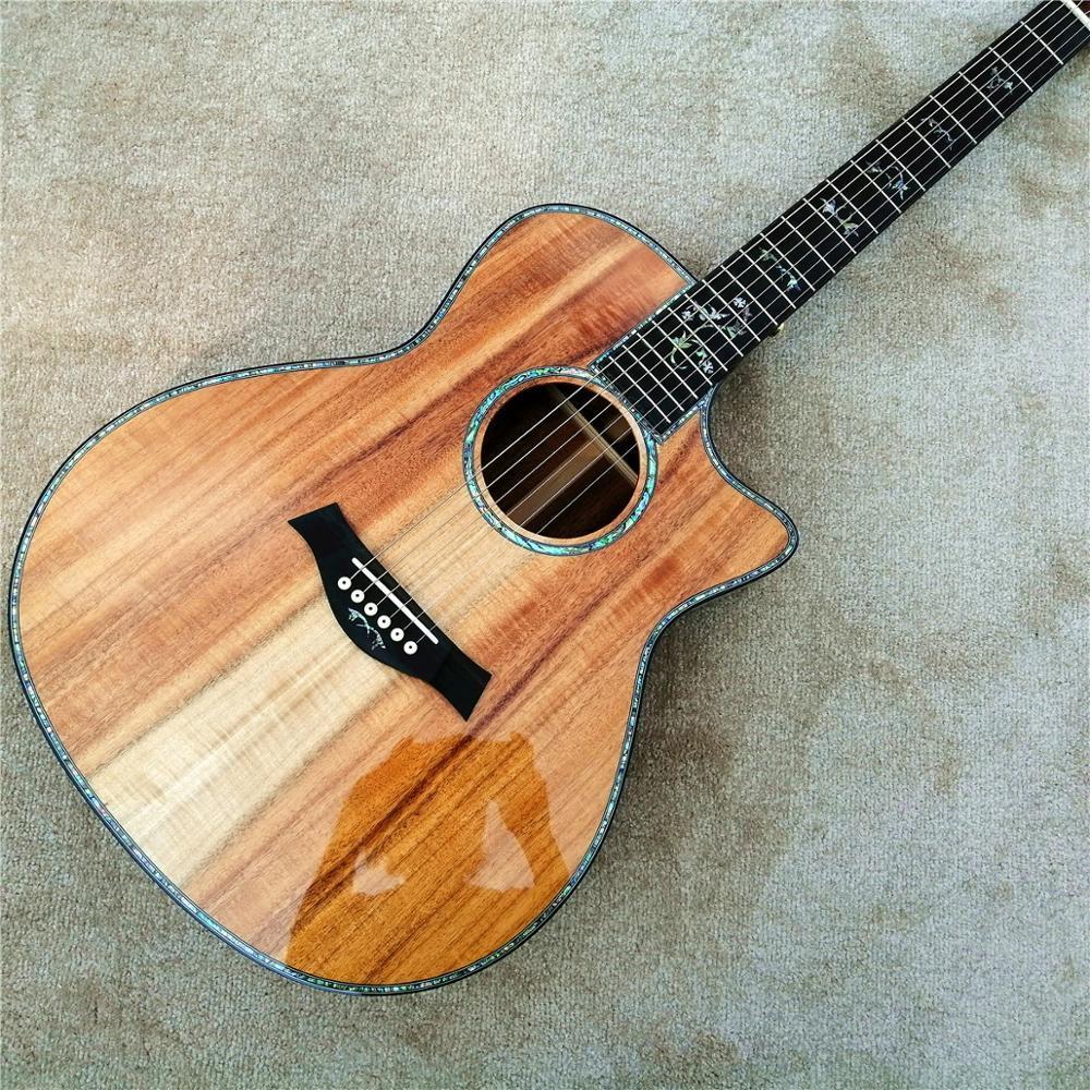 Großhandel benutzerdefinierte 41 Zoll chaylor 916 koa Akustikgitarre, Abalone Intarsien aus Ebenholz Griffbrett koa Gitarre, freies Verschiffen