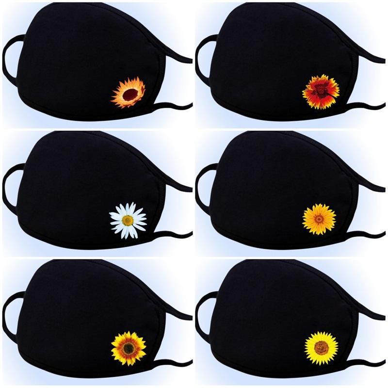 Máscara reutilizable tela de cara polvo Mascarilla lavable respirador Personalidad girasol ciclo al aire libre de la sombrilla Cuatro Estaciones de prueba Solicitar 3dg D2