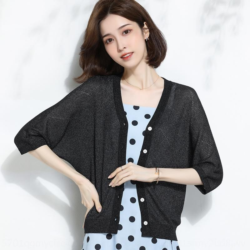 2020 Лето новых женщин V-образным вырезом свободно однобортные пальто свитер свитер летучая мышь кардиган женский тонкий солнцезащитный крем пальто ZR231 He8CV