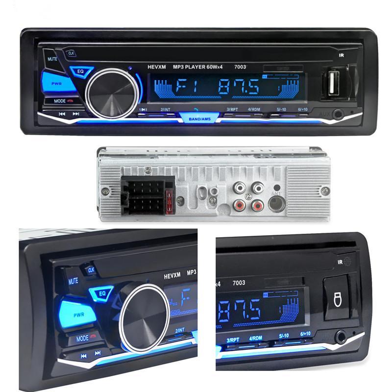 12V Bluetooth Car Radio Player FM estéreo MP3 Audio 5V-Carregador USB SD MMC AUX Auto Eletrônica In Dash-Autoradio 1 DIN NO CD