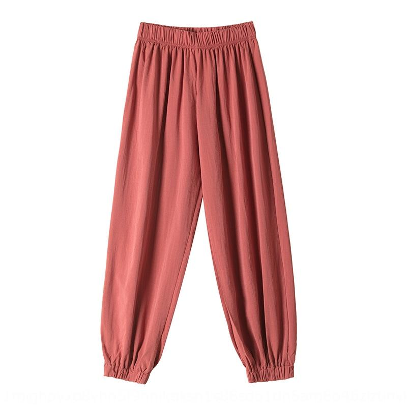 mlpEF bloomers Mistura primavera-verão nova plain calças cortadas lanterna largas solta-fit calças harém de mulheres lanterna calças casuais